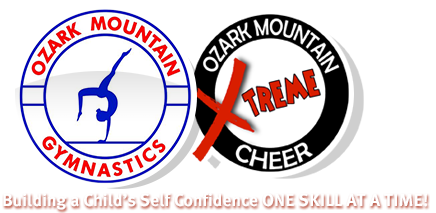 Ozark Mountain Gymnastics Springfield Missouri cheer & gymnastics logo